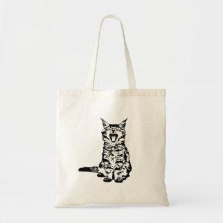 Cute yawing kitten tote bag