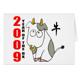Cute Year of The Ox T-Shirt Card