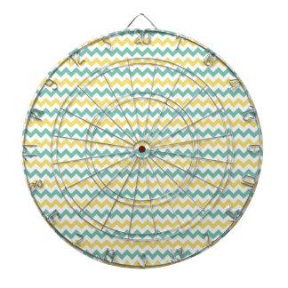 Cute Yellow and Teal Chevron Pattern Dart Board