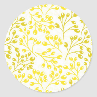 Cute yellow and white autumn berries round stickers