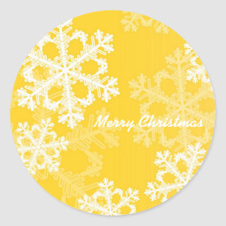 Cute yellow and white Christmas snowflakes Round Sticker