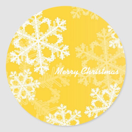 Cute yellow and white Christmas snowflakes Round Stickers