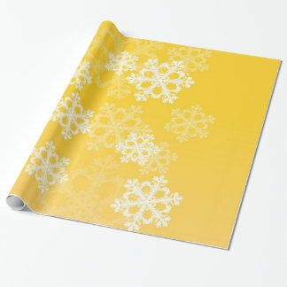 Cute yellow and white Christmas snowflakes Wrapping Paper