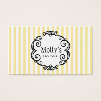 Cute Yellow and White Stripe Fashion Boutique Business Card