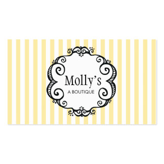 Cute Yellow and White Stripe Fashion Boutique Pack Of Standard Business Cards