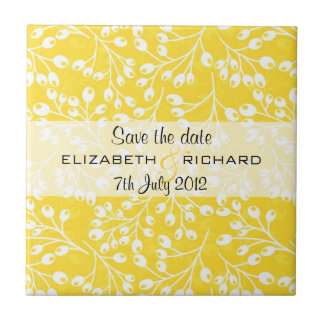 Cute yellow autumn fruits Save the date Tile
