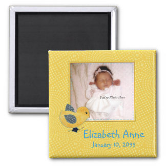 Cute Yellow Baby Chick Photo Birth Announcement Square Magnet