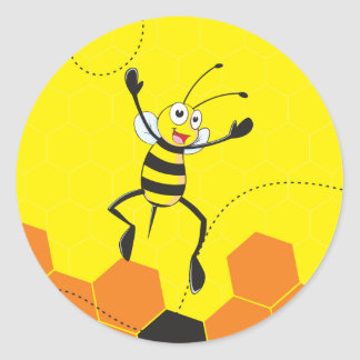 Cute Yellow Bee Jumping Hurray Hoorah Classic Round Sticker