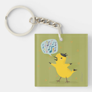 Cute Yellow Bird Excited Warbler Key Ring