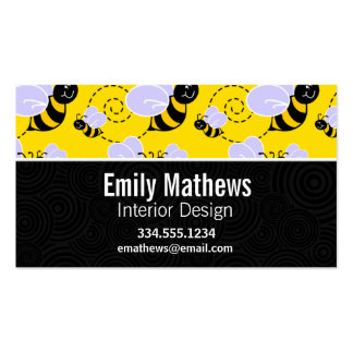Cute Yellow & Black Bee Business Cards