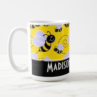 Cute Yellow & Black Bee Classic White Coffee Mug