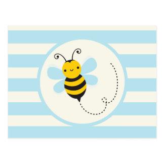 Cute Yellow & Black Bee on Baby Blue Stripes Postcard