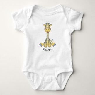 Cute Yellow & Blue Baby Boy Giraffe Personalized Baby Bodysuit