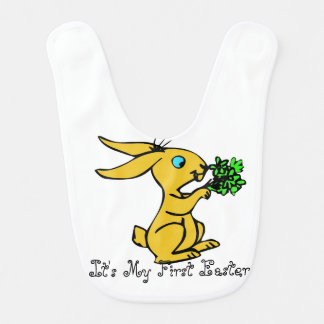 Cute Yellow Bunny for Lovely Happy Easter Bib