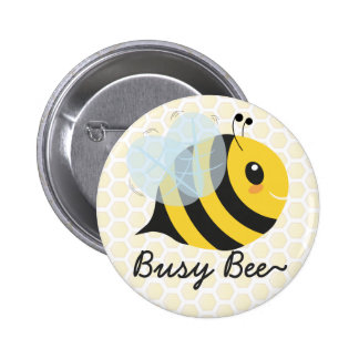 Cute Yellow Busy Bee with Honeycomb pattern 6 Cm Round Badge
