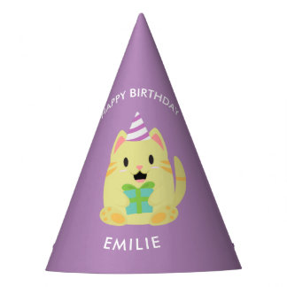 Cute Yellow Cat Kids Birthday Party Hat