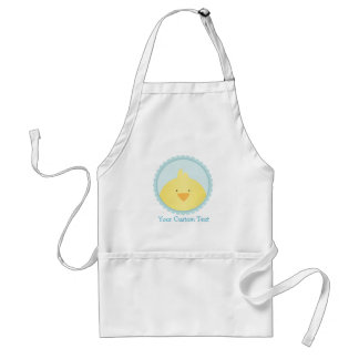 Cute Yellow Chick / Blue Seal + Custom Text Standard Apron