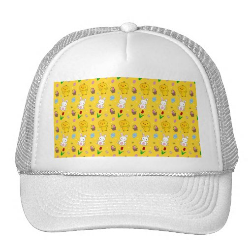 Cute yellow chick bunny egg basket easter pattern trucker hats