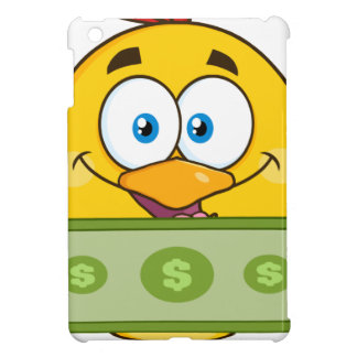 cute yellow chick cartoon character holding cash iPad mini case