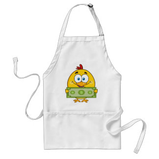 cute yellow chick cartoon character holding cash standard apron