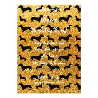 Cute yellow dachshund glitter pattern custom invites