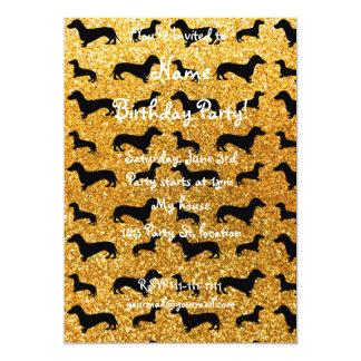 "Cute yellow dachshund glitter pattern 5"" x 7"" invitation card"