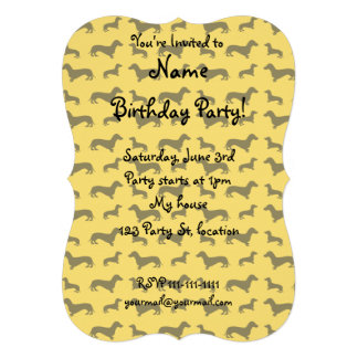 Cute yellow dachshund pattern personalized announcements