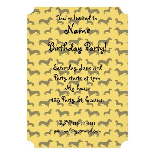Cute yellow dachshund pattern personalized invitation