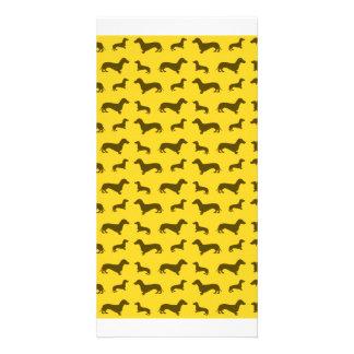 Cute yellow dachshund pattern photo card