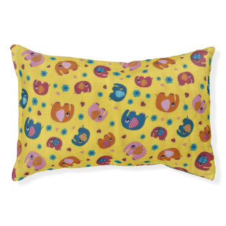 cute yellow dog bed with colourful elephants
