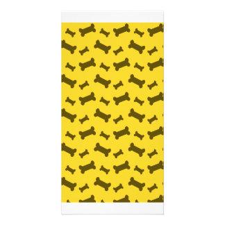 Cute yellow dog bones pattern personalised photo card