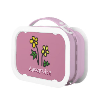 Cute Yellow Drawn Flowers Custom Name Pink Lunch Boxes
