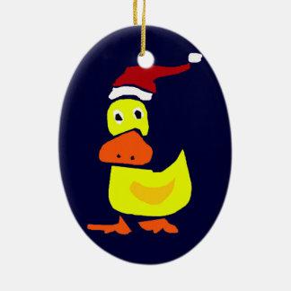 Cute Yellow Duck in Santa Hat Ornaments