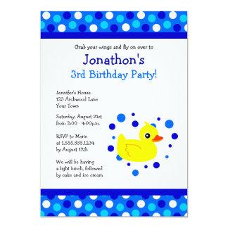 Cute Yellow Ducky Blue Polka Dots Birthday Invite