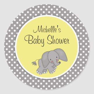 Cute Yellow Elephant Gender Neutral Baby Shower Classic Round Sticker