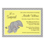 Cute Yellow Elephant Gender Neutral Baby Shower Personalised Invite
