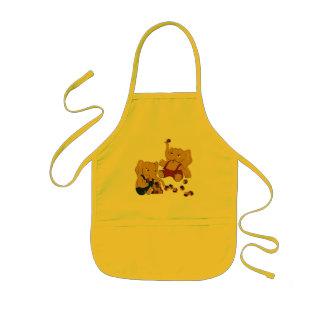 Cute yellow elephants playing kids apron