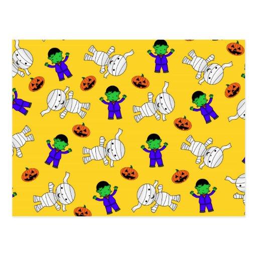 Cute yellow Frankenstein mummy pumpkins Post Cards