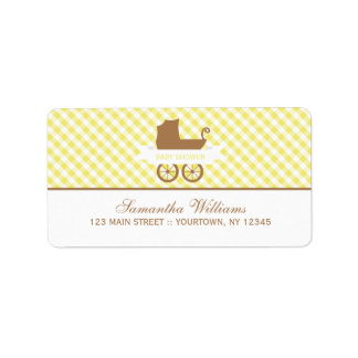 Cute Yellow Gingham Pattern and Baby Carriage Label