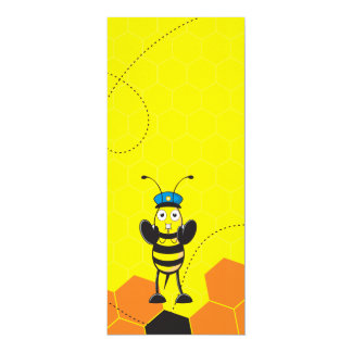 Cute Yellow Happy Police Bee Blowing Whistle 10 Cm X 24 Cm Invitation Card
