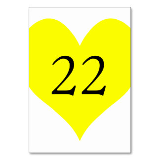 Cute Yellow Heart Numbered Table Card