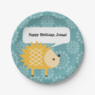 Cute Yellow Hedgehog Personalized Party Plates 7 Inch Paper Plate