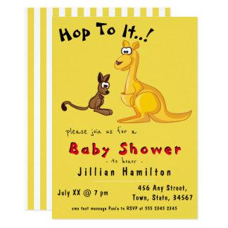 Cute Yellow Kangaroo Baby Shower Card