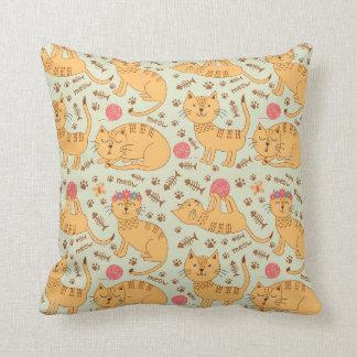 Cute Yellow Kittens Pink Yarn Cushion