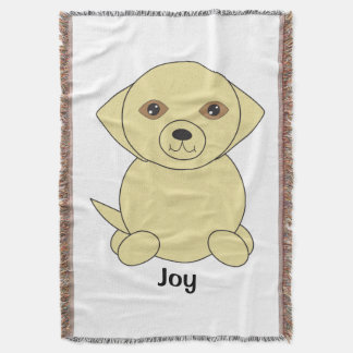 Cute Yellow Lab Dog Personalise Throw Blanket