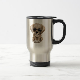 Cute Yellow Lab Puppy Dog with Reading Glasses Coffee Mug