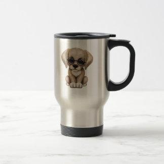 Cute Yellow Lab Puppy Dog with Reading Glasses Coffee Mug
