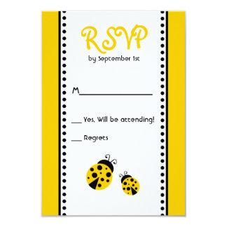 Cute Yellow Ladybugs Birthday Party RSVP Card 9 Cm X 13 Cm Invitation Card