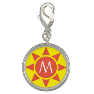 Cute Yellow & Orange Sun Shine Initialed Monogram