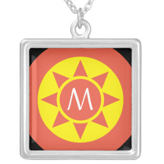 Cute Yellow & Orange Sun Shine Initialed Monogram Silver Plated Necklace